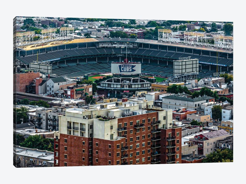 Wrigley Field, Park Place Towers, Daytime by Raymond Kunst 1-piece Canvas Art