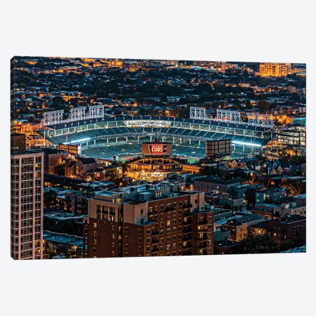 Wrigley Field, Park Place Towers, Nighttime Canvas Print #RKU82} by Raymond Kunst Canvas Art Print