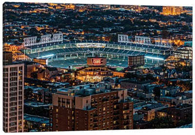 Wrigley Field, Park Place Towers, Nighttime Canvas Art Print