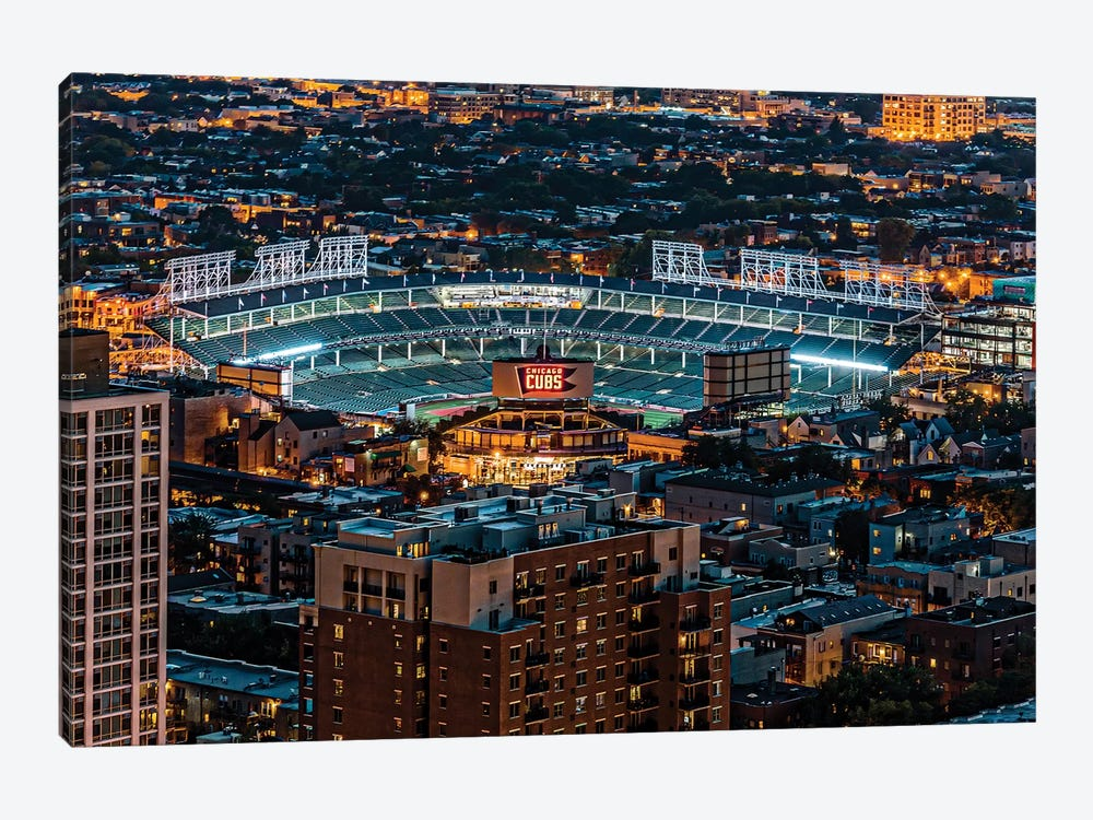 Wrigley Field, Park Place Towers, Nighttime by Raymond Kunst 1-piece Canvas Art Print