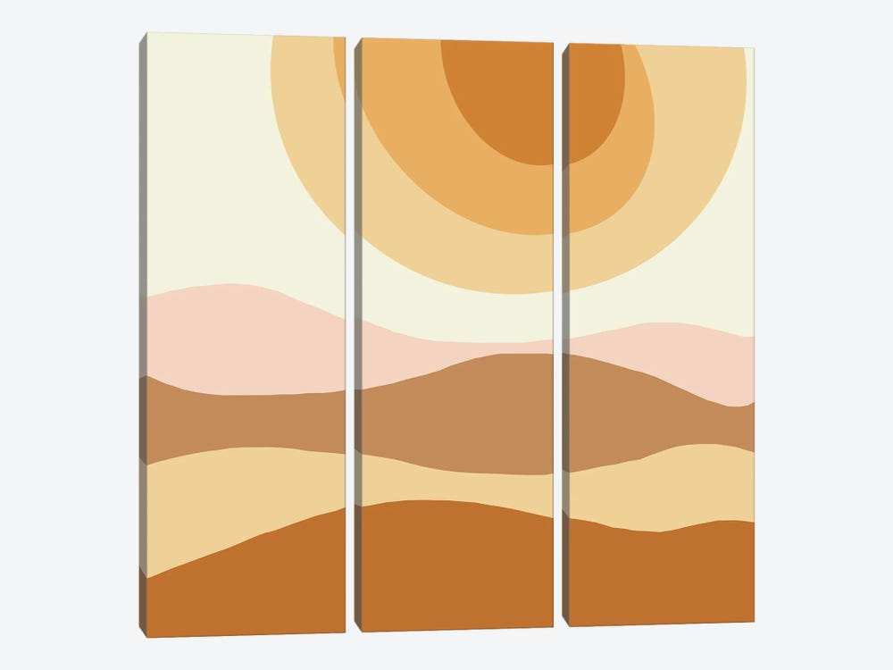 The Sun Abstract Illustration by Merle Callesen 3-piece Canvas Art Print