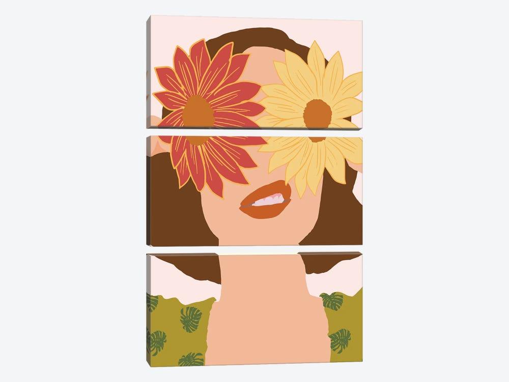 Behind Flowers Fashionart by Merle Callesen 3-piece Canvas Wall Art