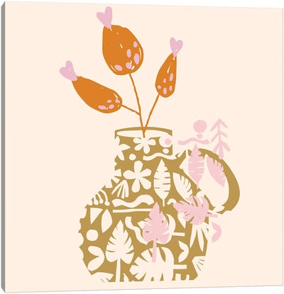 Cut Out Leaves Illustrations Canvas Art Print
