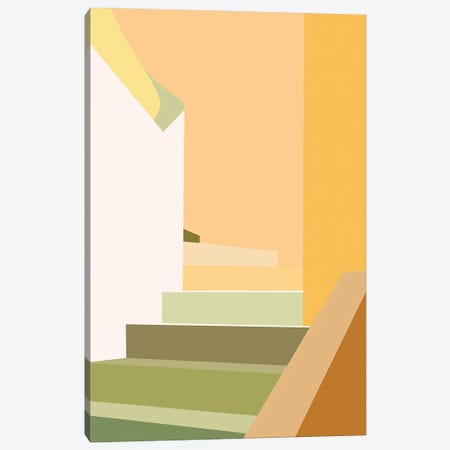 Happy Stairs Abstract Canvas Print #RLE49} by Merle Callesen Canvas Artwork
