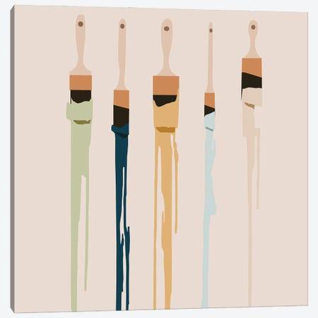 Paint Brush Ensemble Canvas Print #RLE90} by Merle Callesen Art Print
