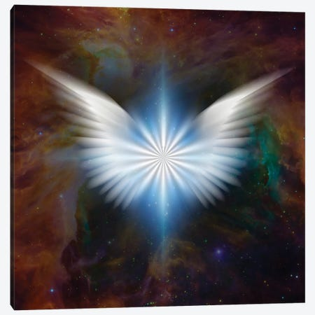 Surreal Digital Art Bright Star With White Angel'S Wings In Vivid Colorful Universe Canvas Print #RLF105} by Bruce Rolff Canvas Artwork