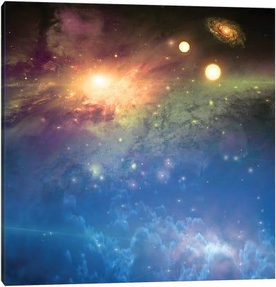 Deep Space Scene Bright Suns Canvas Art Print