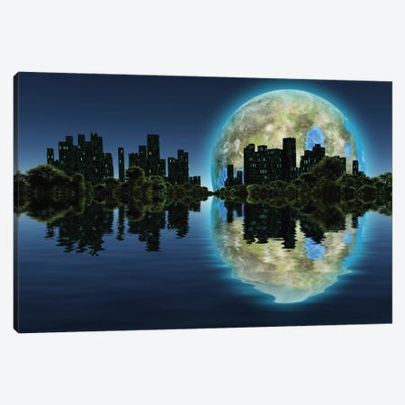 Future City With Green Trees On A Water Surface Giant Terraformed Moon In The Sky Canvas Print #RLF130} by Bruce Rolff Canvas Wall Art