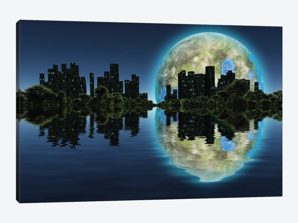 Future City With Green Trees On A Water Surface Giant Terraformed Moon In The Sky by Bruce Rolff 1-piece Canvas Print