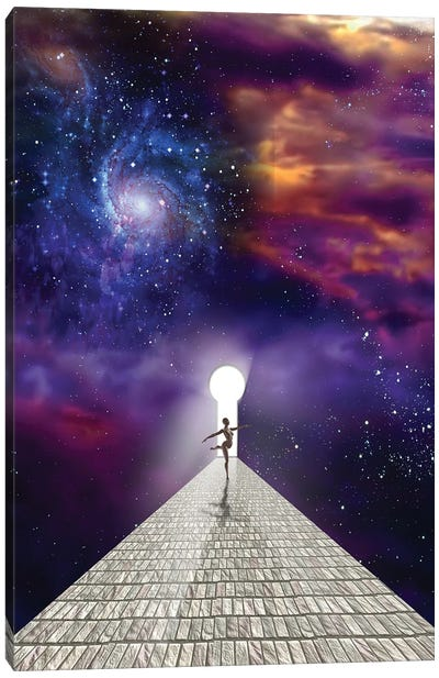 Dancer On Stone Road With Keyhole In Vivid Universe Canvas Art Print