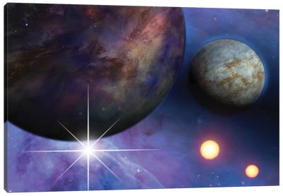 Deep Space Planets, Stars And Suns Canvas Art Print