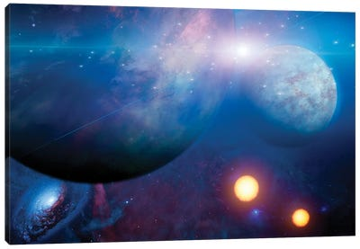 Deep Space Scene Of Planets And Suns Canvas Art Print