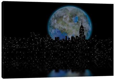 3D Rendering Terraformed Moon Over Night City Canvas Art Print