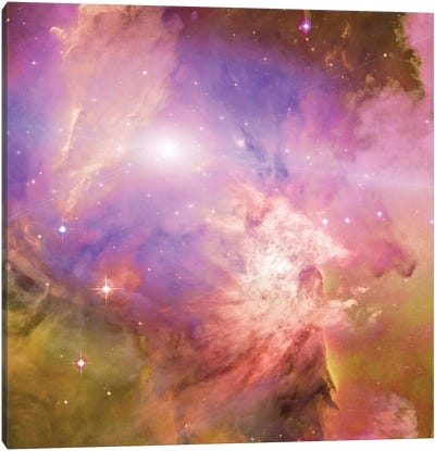 3D Rendering Of Vivid Nebula In Galactic Space Canvas Art Print