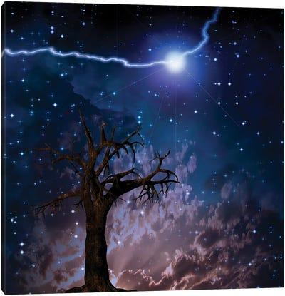 Old Tree Lightning Bolt In Starry Sky Canvas Art Print