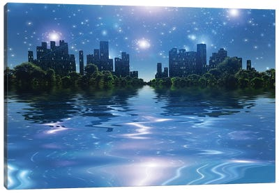City Surrounded By Green Trees In Water World Bright Stars In The Sky Canvas Art Print