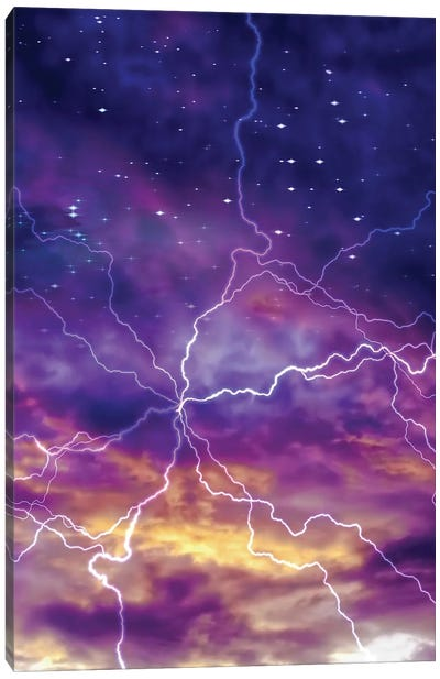 Colorful Night Sky With Arc Of Electric Charge Canvas Art Print