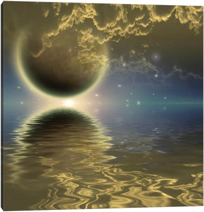 Deep Space Scene Planet In Clouds Reflect In Water Surface Canvas Art Print