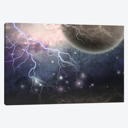 Deep Space Scene Lightnings And Mystic Planet Canvas Print #RLF235} by Bruce Rolff Canvas Art