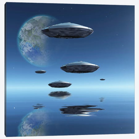 Terraformed Moon And Spacecrafts Over Water Surface 3D Rendering Canvas Print #RLF257} by Bruce Rolff Canvas Art