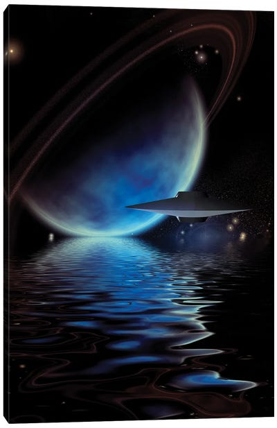 Alien Ufo'S Over An Exoplanet Sea Canvas Art Print