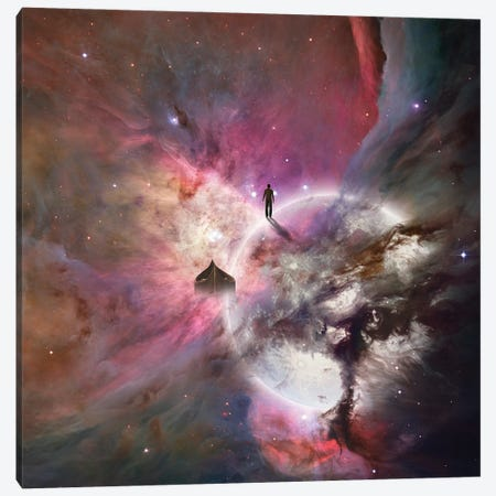 Deep Space Background With Human Being 3D Rendering Canvas Print #RLF276} by Bruce Rolff Canvas Wall Art