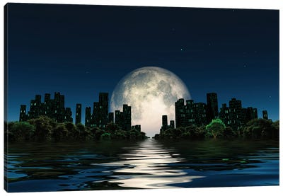 City Surrounded By Green Trees In Water World With A Giant Moon In The Sky Canvas Art Print