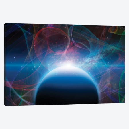 3D Rendering Of Planet With Nebulos Filaments Canvas Print #RLF311} by Bruce Rolff Canvas Wall Art