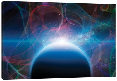 3D Rendering Of Planet With Nebulos Filaments Canvas Art Print