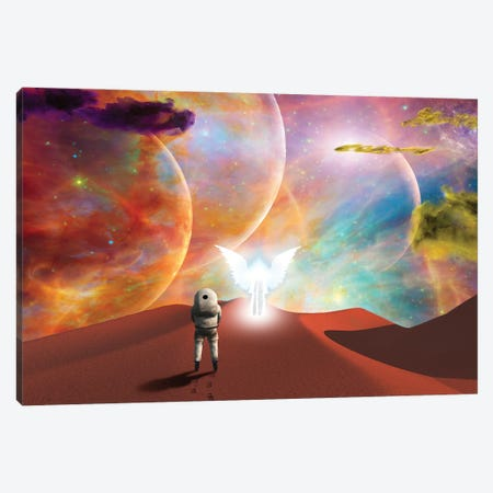 Astronaut Meeting With The Angel On A Space Journey Canvas Print #RLF315} by Bruce Rolff Canvas Art Print