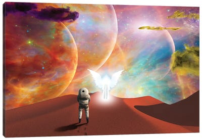 Astronaut Meeting With The Angel On A Space Journey Canvas Art Print