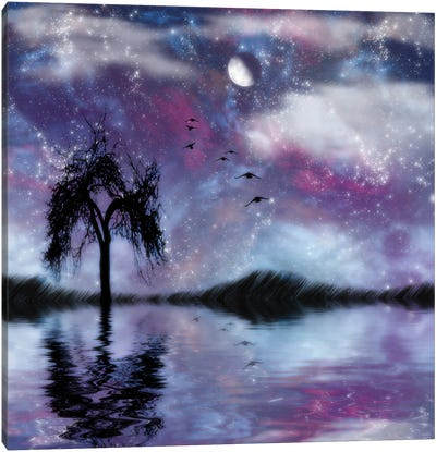 Birds Fly To The Moon As Free Souls Canvas Art Print