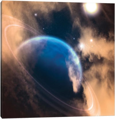 3D Rendering Of An Exoplanet In Vivid Space Canvas Art Print