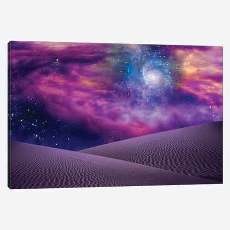Sands Of Erudin With Galaxy In Deep Purple Sky Canvas Print #RLF329} by Bruce Rolff Canvas Art Print