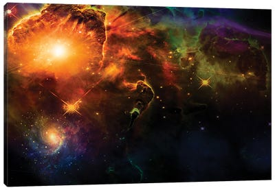 Bright Stars And Nebulae In Vivid Space Canvas Art Print