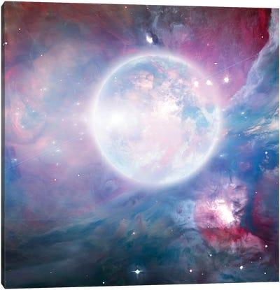 Bright Moon In Vivid Nebulous Deep Space Canvas Art Print