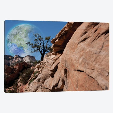 Fantastic Red Rock Mountains Terraformed Moon In The Sky 3D Rendering Canvas Print #RLF51} by Bruce Rolff Canvas Art