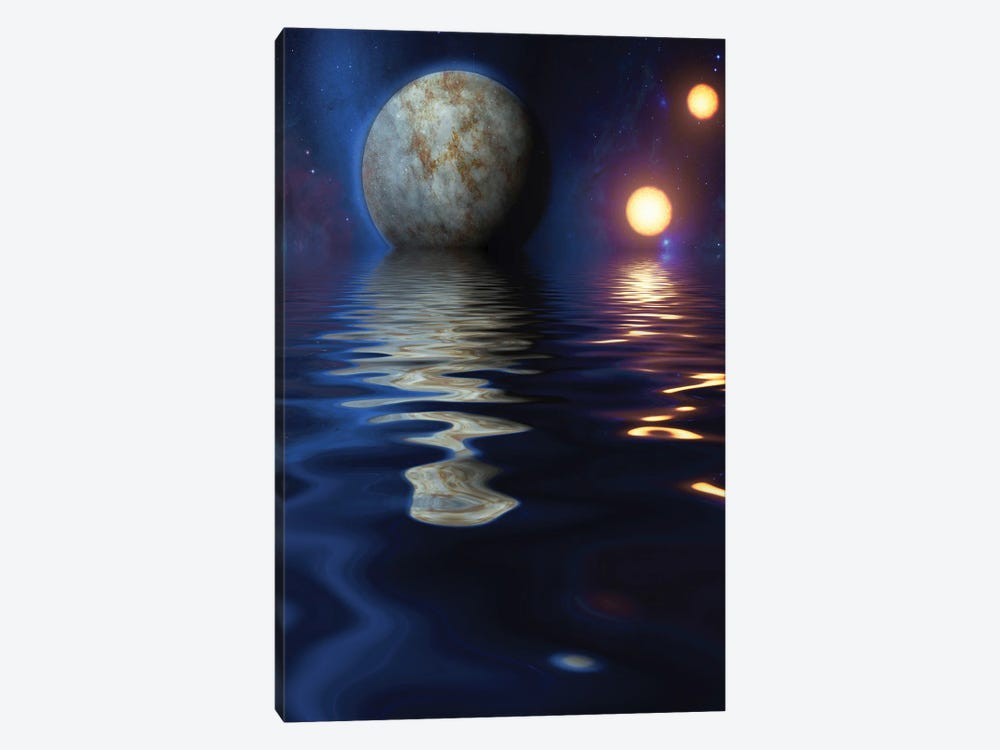 Exosolar Planets Rise Over Quiet Waters by Bruce Rolff 1-piece Canvas Art