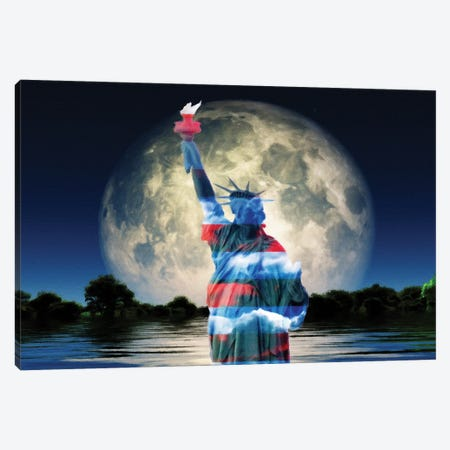 Surrealism Liberty Statue In National Colors Giant Moon Rises Over Water Surface Canvas Print #RLF77} by Bruce Rolff Art Print