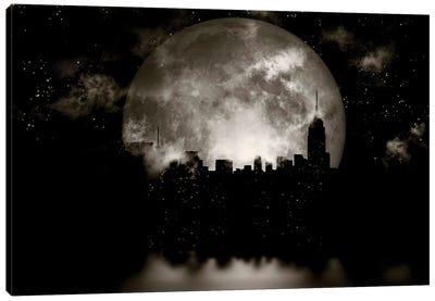 3D Rendering Full Moon Over Night City Canvas Art Print