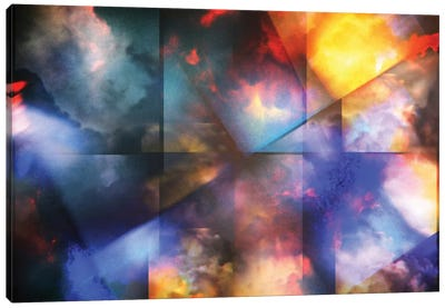 Colorful Clouds With Overlapping Rectangular Layers Canvas Art Print