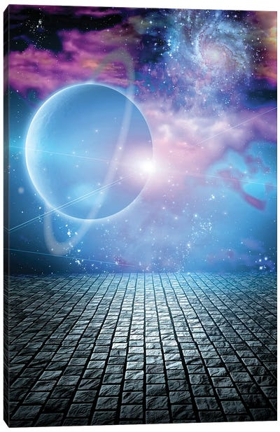 Big Planet Above Stone Field At The Edge Of Space Canvas Art Print