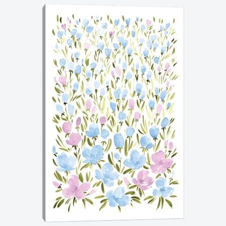 Field Of Pink And Blue Wildflowers Canvas Print #RLZ103} by blursbyai Canvas Artwork