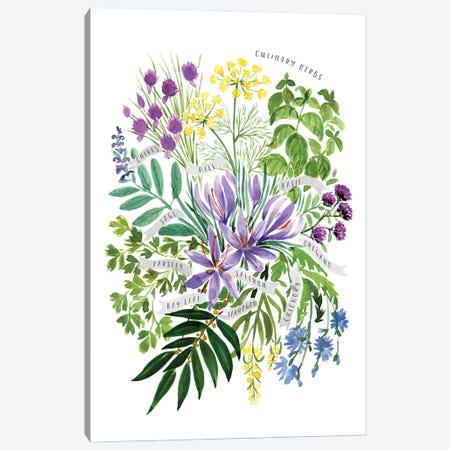 Culinary Herbs Bouquet In Watercolor Canvas Print #RLZ105} by blursbyai Art Print