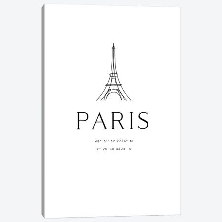 Paris Coordinates With Eiffel Tower Sketch Canvas Print #RLZ113} by blursbyai Art Print