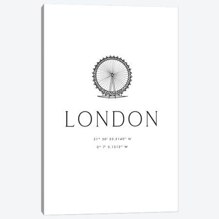London Coordinates With London Eye Sketch Canvas Print #RLZ116} by blursbyai Canvas Wall Art