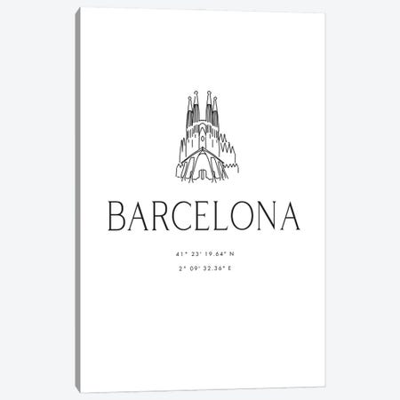 Barcelona Coordinates With Sagrada Familia Sketch Canvas Print #RLZ117} by blursbyai Canvas Art