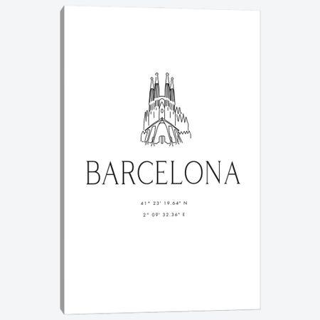 Barcelona Coordinates With Sagrada Familia Sketch Canvas Print #RLZ117} by blursbyai Canvas Art