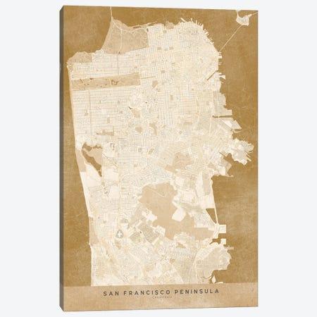 Vintage Sepia San Francisco Map Canvas Print #RLZ118} by blursbyai Canvas Art Print