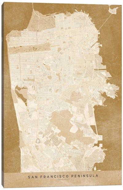 Vintage Sepia San Francisco Map Canvas Art Print